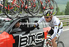 Cadel Evans is anything but happy - his face shows concern at the size of the escape pulling away...