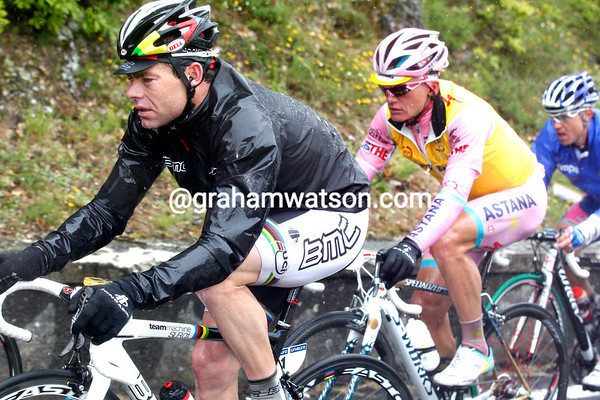 Evans, Vinokourov and Cunego look as miserable as drowned rats - they even look like drowned rats..!