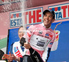 Richie Porte looks exuberant at taking the Maglia Rosa in his first-ever season as a pro...
