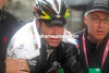Evans looks miserable at the thought that he too may have lost the Giro...