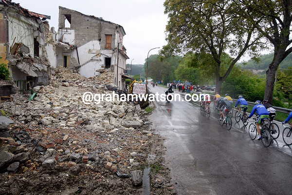 The Giro didn't visit L'Aquila for the excellent weather - signs of last year's earthquake are a reminder along the road...