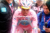 A distressed-looking Vinokourov arrives almost 13-minutes later - has he lost this Giro..?