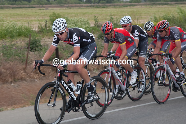 Just after the re-group, Cervelo and RadioShack move to the front...