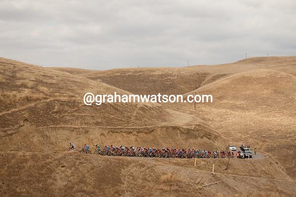 The forty-four man peloton nears the KOM.