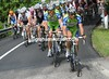 Liquigas is concerned enough to take over the chasing on the first climb...