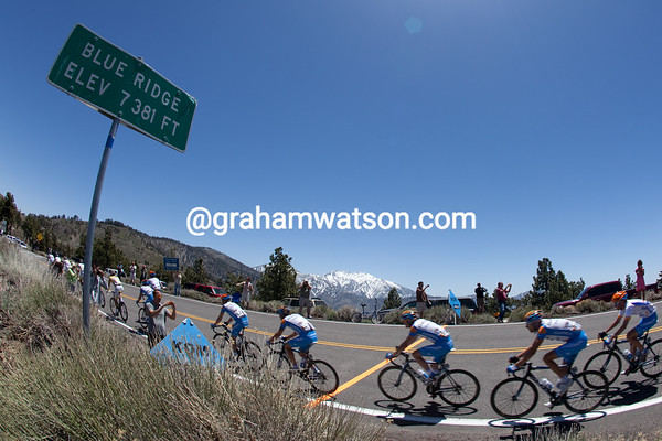Garmin crests the fifth KOM of the day.