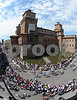 The peloton slides away from the centre of Ferrara on the first mountain stage of the Giro...
