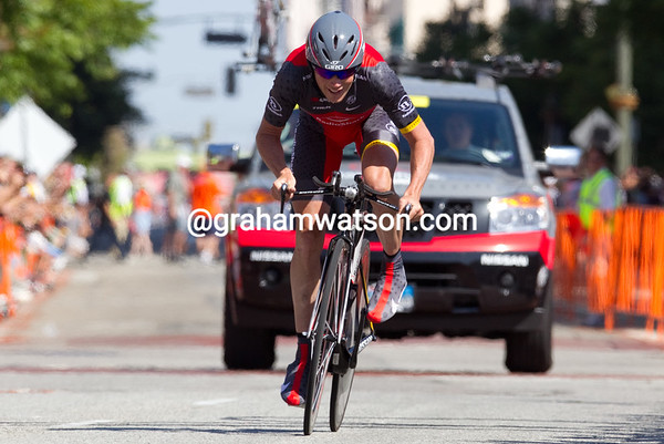 """Chris Horner was 8th on the day, he is looking strong - 1'19"""" off the winning time."""