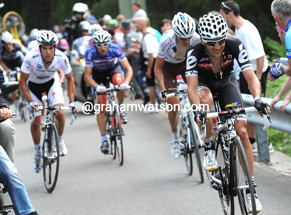 Carlos Sastre has also found trouble - he has Richie Porte for company with 8-kilometres to go...