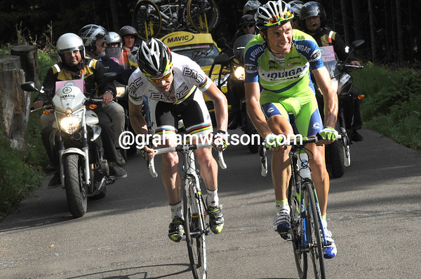 Evans and Basso are locked in a nasty duel now - the Giro is at stake on the Zoncolan...