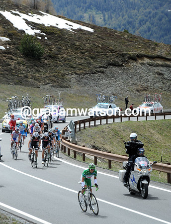 Lloyd jumps away for climbing on the next climb of the day, the Passo di Eira...