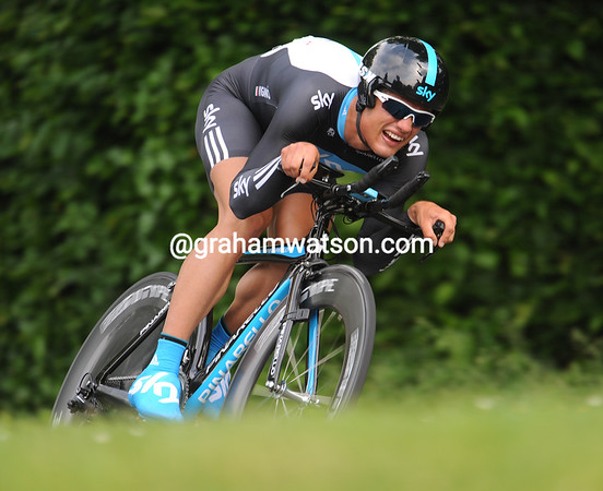 Stylish but slow, Davide Vigano swoops down the long descent at 50-miles-per-hour to take 154th place at 53-seconds...