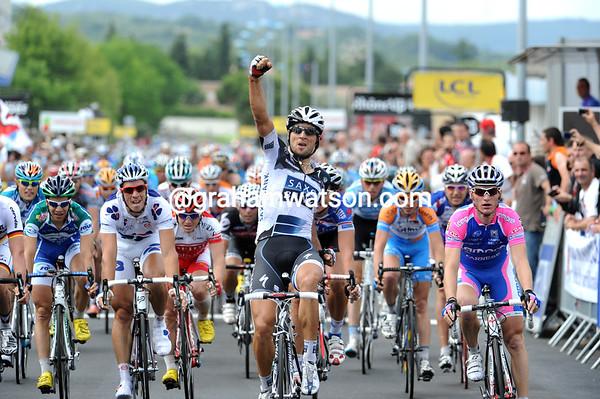 Juan Jose Haedo has won stage two from Martin Reimer and Grega Bole - Contador keeps his race-lead...