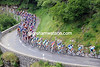 The sprinters' teams mass at the front as the race climbs through a scenic gorge in Ardeche...