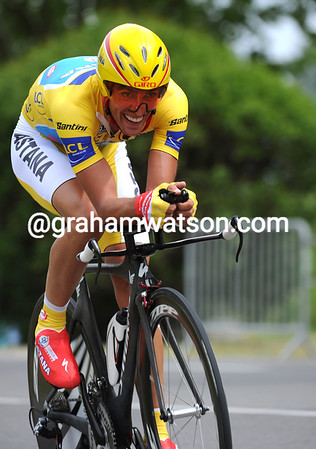 """Alberto Contador placed 6th at 1' 46"""" and surrendered his race-lead, for now..."""