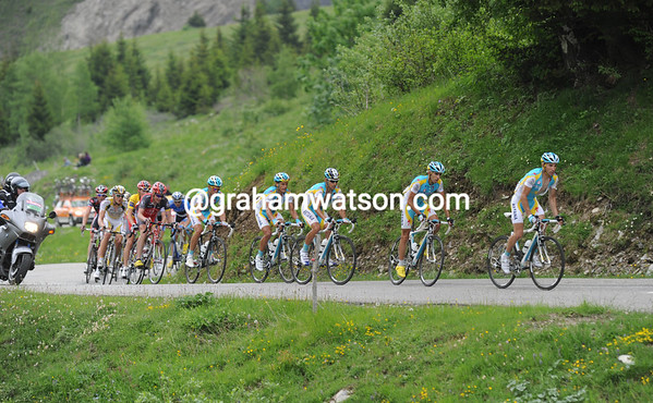 Astana is more in control than before - seven of them overpower three Radio Shack riders...