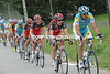 Astana is in control along the valley road towards the Col du Glandon, Benjamin Noval is their man...
