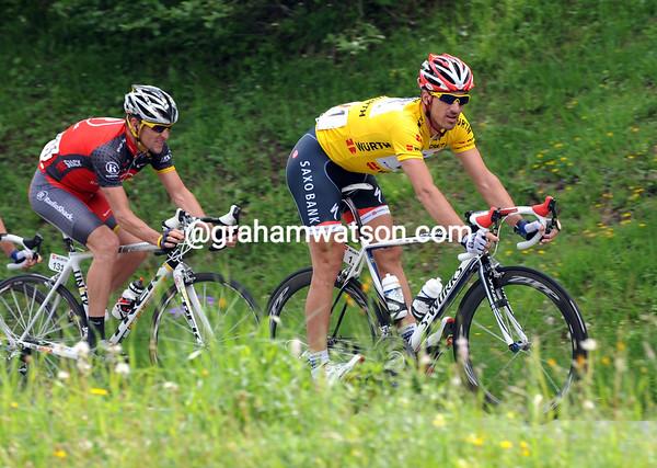 Fabian Cancellara descends the Col des Mosses with a familiar figure trailing him...