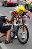 Fabian Cancellara's motorized bike is already malfunctioning in the neutralized zone...