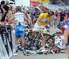 Tony Martin hasn't quite crashed - he's searching for Cavendish under the pile of bodies...