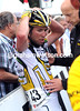 The shock of the crash is inked on Cavendish's face, was it he who caused the crash..?