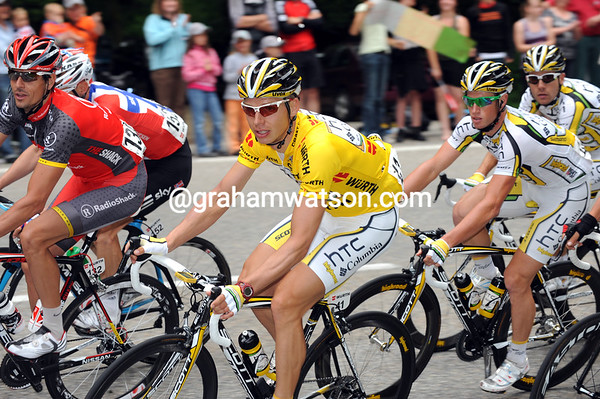Andreas Kloden seems to be escorting Tony Martin and the Columbia Team on a small climb...