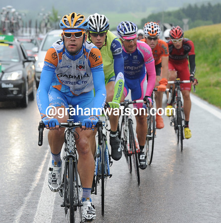 Martin Maaskant leads a five-man escape away on the first climb...