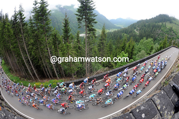 The tall trees are dwarfing the peloton and touching the clouds on the Sustenpass...