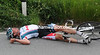 Incredibly, Leif Hoste has been caught in another crash - a nasty one...