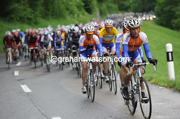 Rabobank starts to show an interest with 60-kilometres to go - and the rain has stopped!
