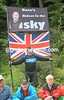 Go SKY! A British fan salutes the Tour de Suisse...