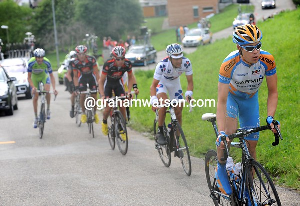 Danielson attacks on the next steep hill, but gets caught soon afterwards...