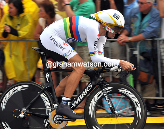 Fabian Cancellara raced second-to-last and on dryish roads to win the Prologue at over 53-kilometres-per-hour...