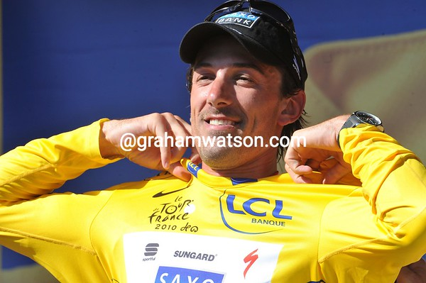 He's still smiling - Fabian Cancellara takes on-board another yellow jersey...