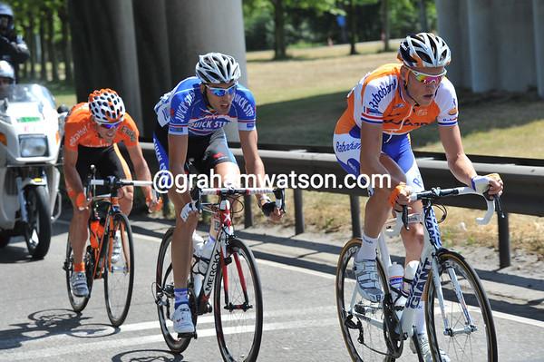 Boom !- three riders are racing away from kilometre zero, led by Lars Boom..!
