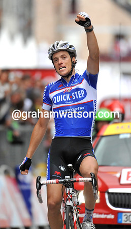 Sylvain Chavanel has won stage two into Spa by almost four minutes - but he's a both a strong and lucky man today..!