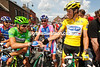 Ciao and Bonjour - Alessandro Petacchi greets new race-leader Sylvain Chavanel at the start...
