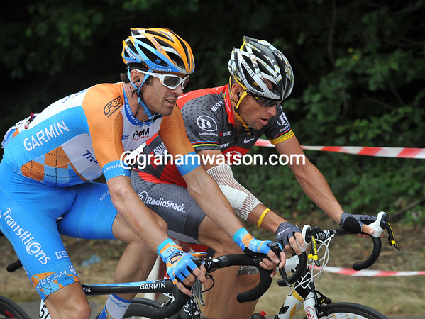 David Millar and Lance Armstrong compare notes on their crashes yesterday...