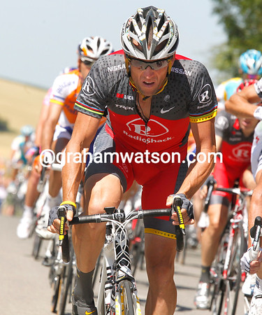 Lance Armstrong is still looking strained after his crash on stage two and bad luck yesterday...