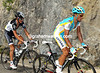 Contador is looking good, better than Schleck it seems - Astana is driving the peloton up the climb to Les Rousses...