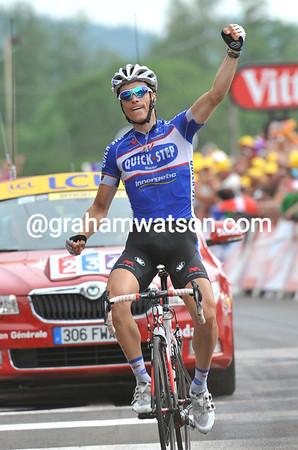 Sylvain Chavanel wins stage seven into Les Rousses...