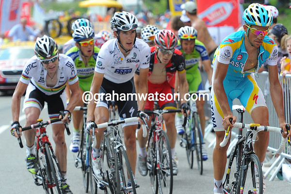 Contador looks to be setting up an attack with two-kilometres left...