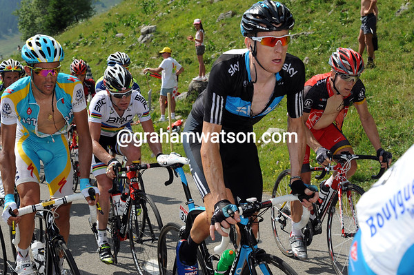 For now, Wiggins looks as cool and composed as his colleagues Contador, Leipheimer and Evans - but not for much longer...