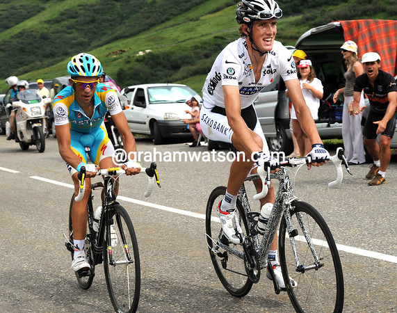 Schleck and Contador near the summit of the Col de la Madeleine, and then its 32-kilometre descent...