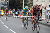 Kiriyenka attacks at the foot of the last climb - the peloton is right behind them though...