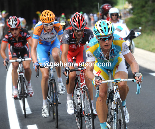 Vinokourov has attacked with 45-kilometres to go and taken Kloden, Hesjedal and Kiriyenka with him...