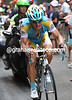 Vinokourov has got himself ahead with three-kilometres to go, but not by much...