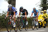 Sylvain Chavanel is leading a three-man escape away right from the start...