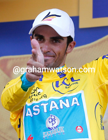 Alberto Contador produces his pistol salute - but has he actually shot himself for attacking Scheck in such a way..?