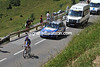 Robbie McEwen is last sprinter and last man up the Peyresourde - he faces a crucial day, possibly alone...